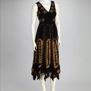 Dresses & Skirts - Boho black and gold dress size medium